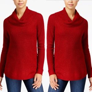 BCX Metallic Knit Cowl Neck Sweater In Red